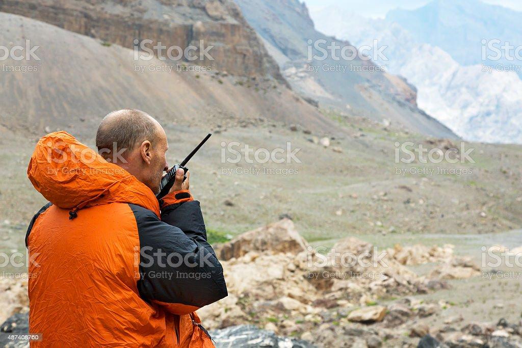 Man Talking on Radio stock photo