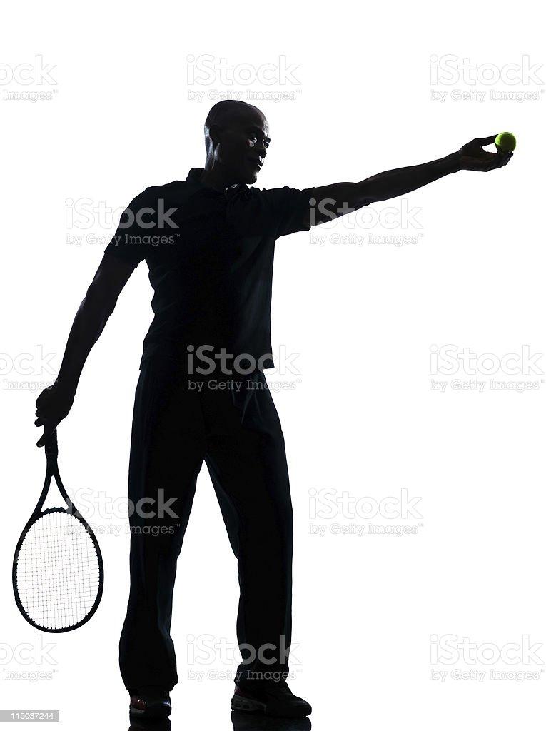 man tennis player at service royalty-free stock photo