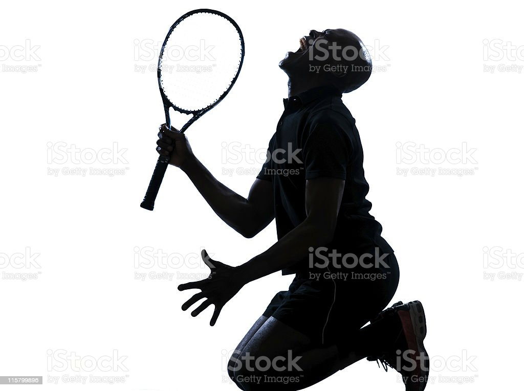 man tennis player kneeling screaming royalty-free stock photo