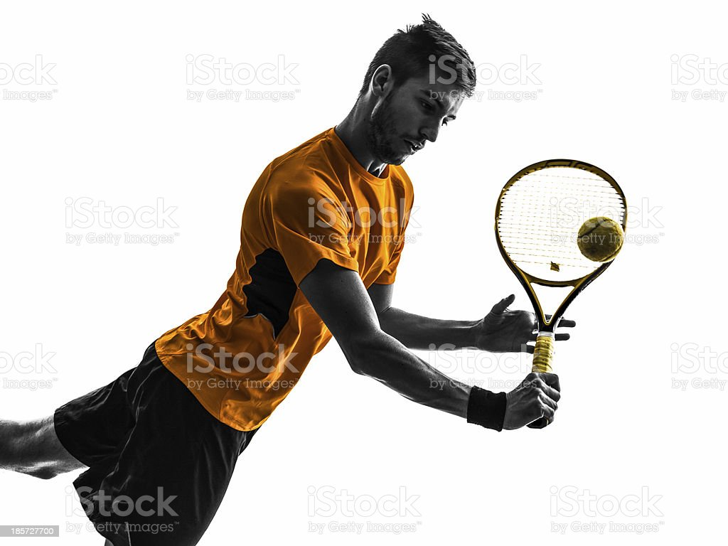 man tennis player portrait silhouette royalty-free stock photo