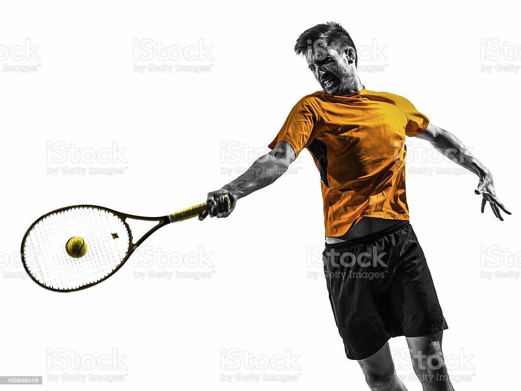man tennis player portrait silhouette stock photo