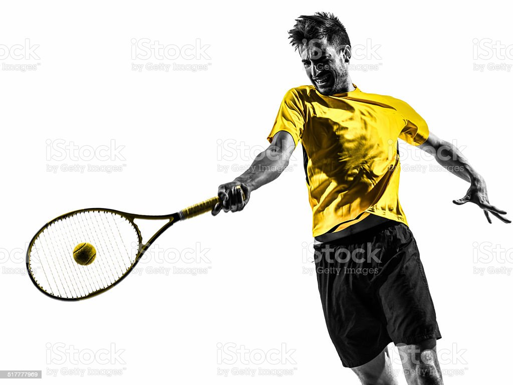 man tennis player portrait silhouette stock photo