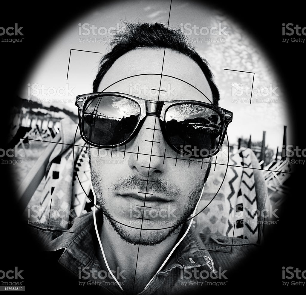 man terrorist targeted by a sniper stock photo