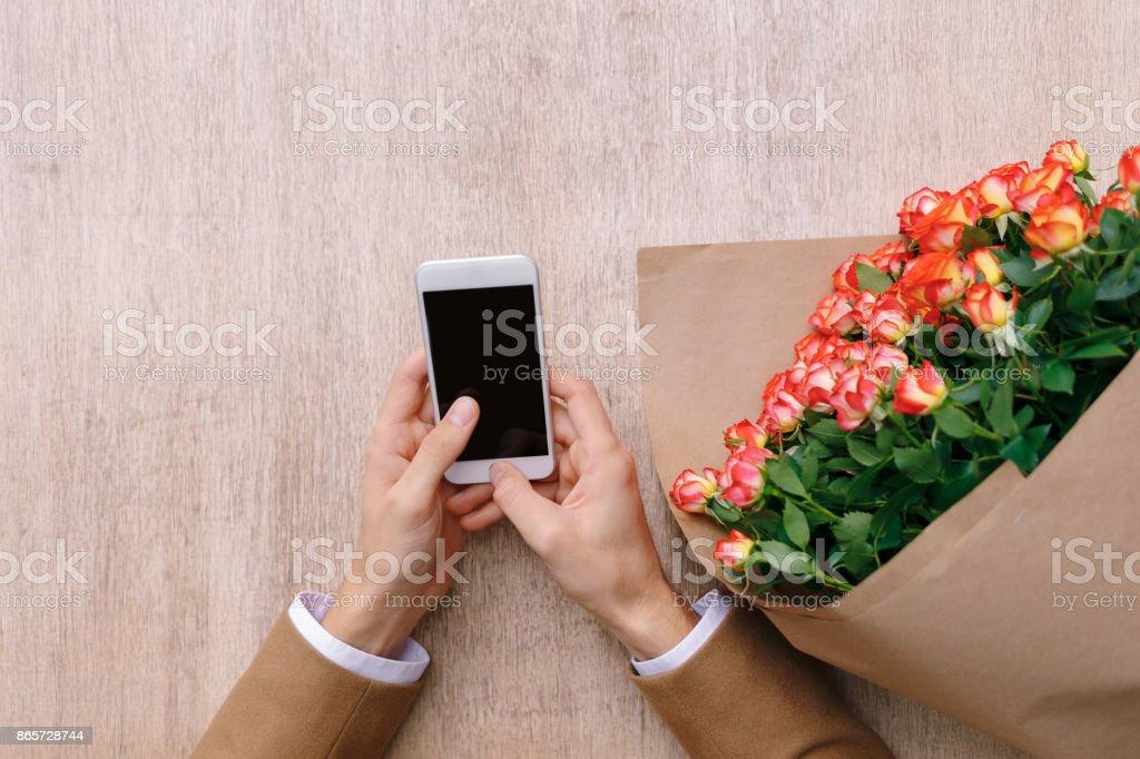 Man texting a love message. stock photo
