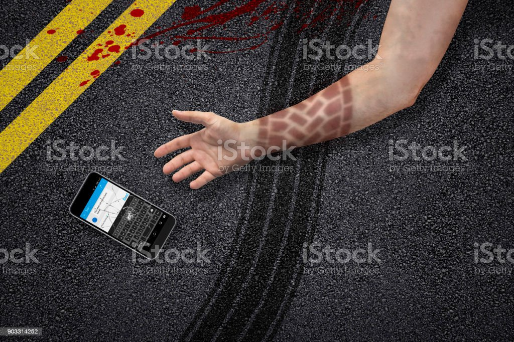 man texting and jaywalking accident hand stock photo