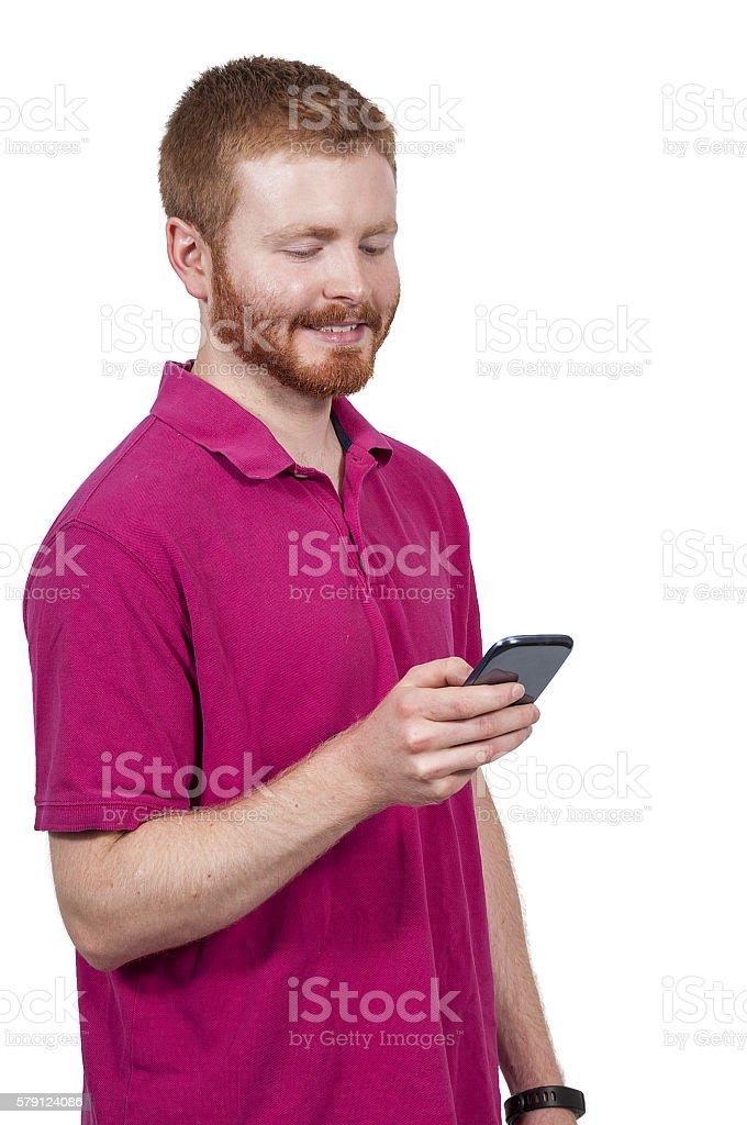Man Texting stock photo