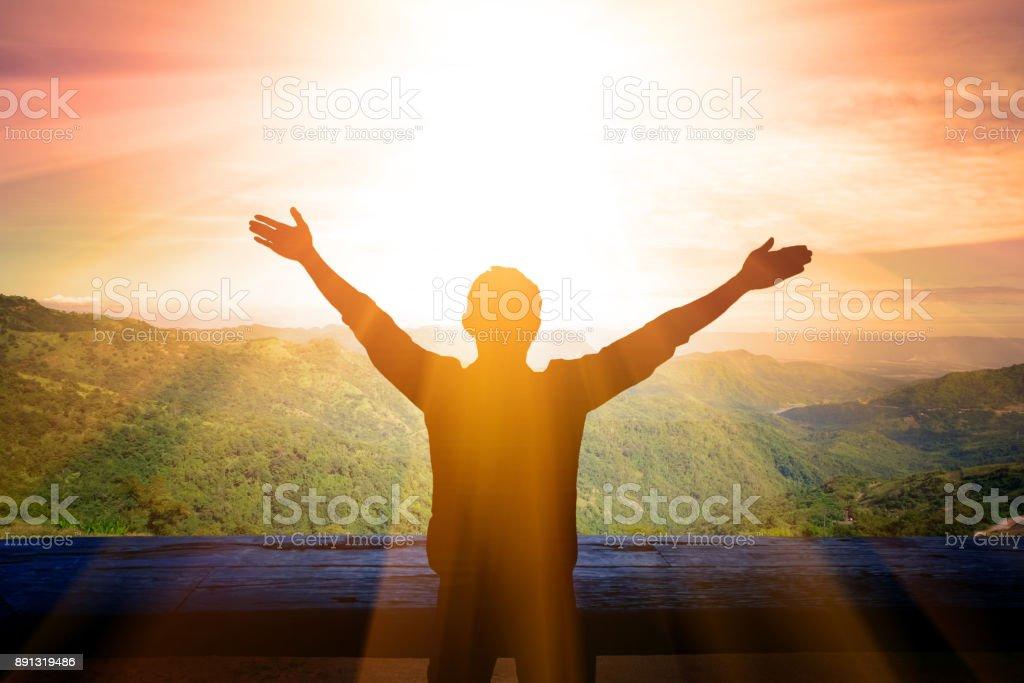 Man Thanksgiving to God stock photo