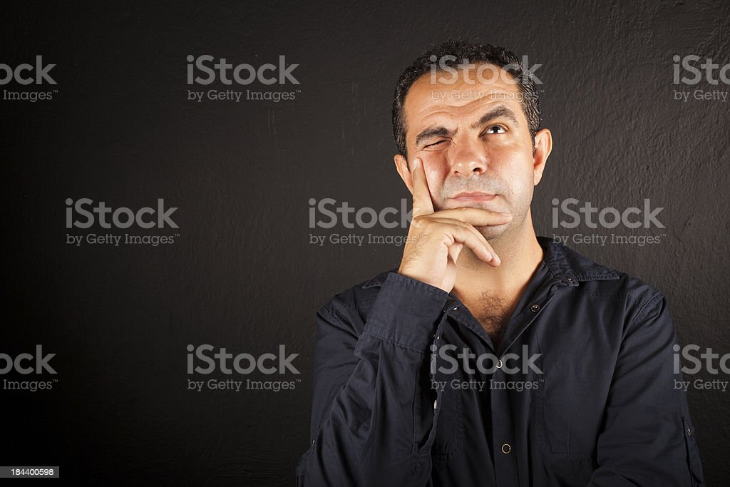 Man thinking and solving a problem royalty-free stock photo
