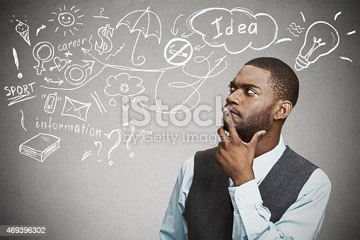 istock man thinking dreaming has many ideas looking up 469396302
