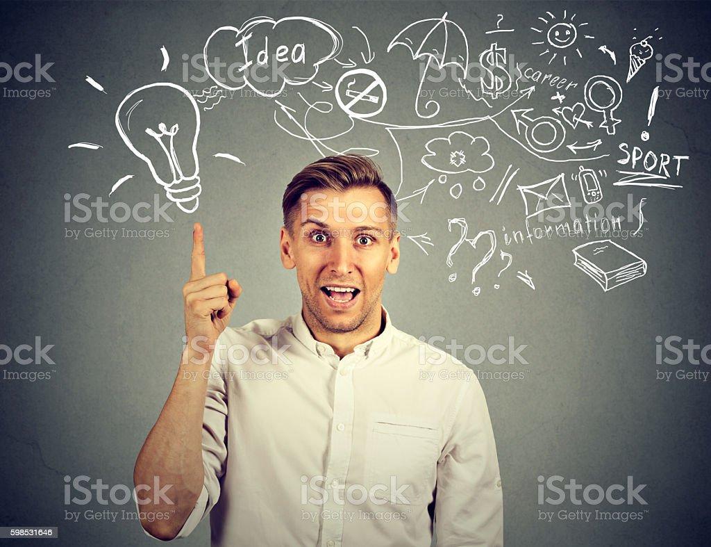 man thinking has many ideas pointing up photo libre de droits