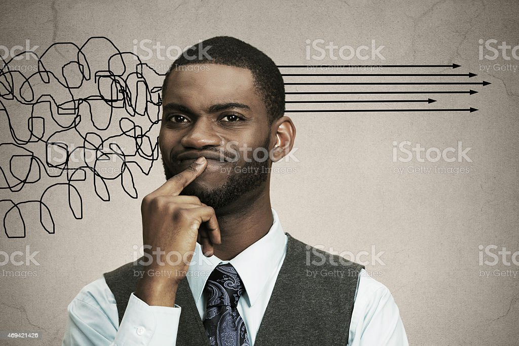 Man thinking, looking for solution of problem stock photo
