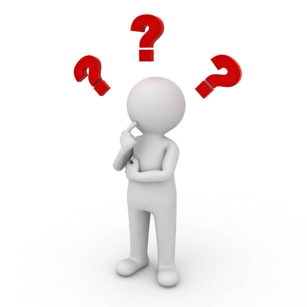 Man thinking with red question marks stock photo