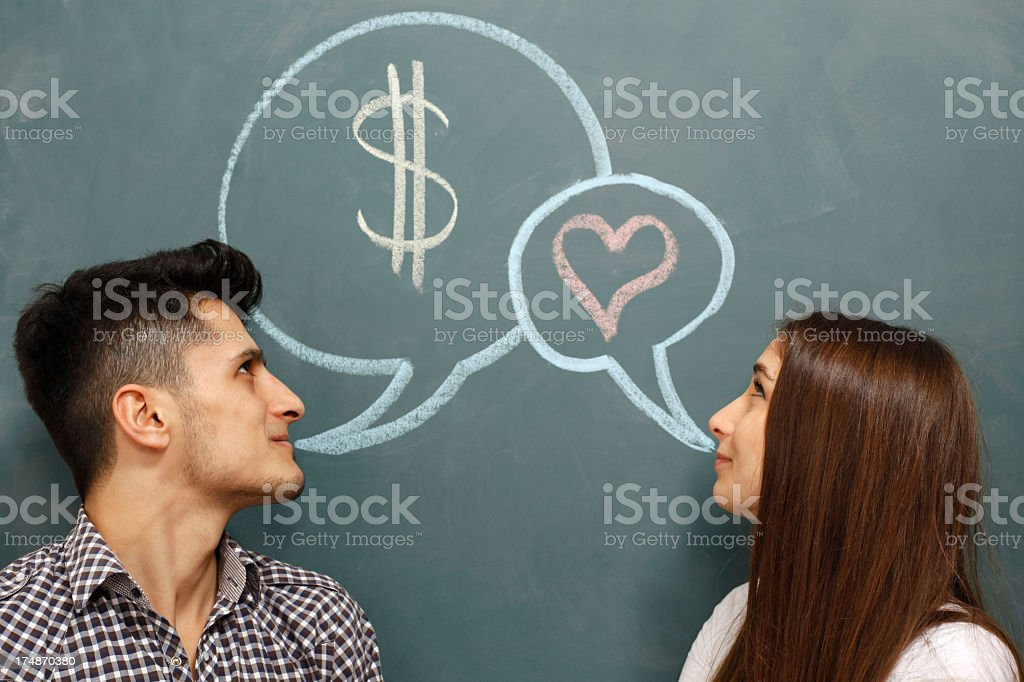 Man thinks about money and woman about love royalty-free stock photo