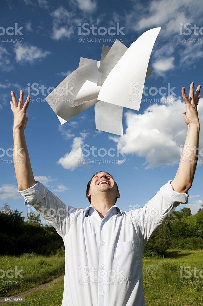 Man throw paper stock photo