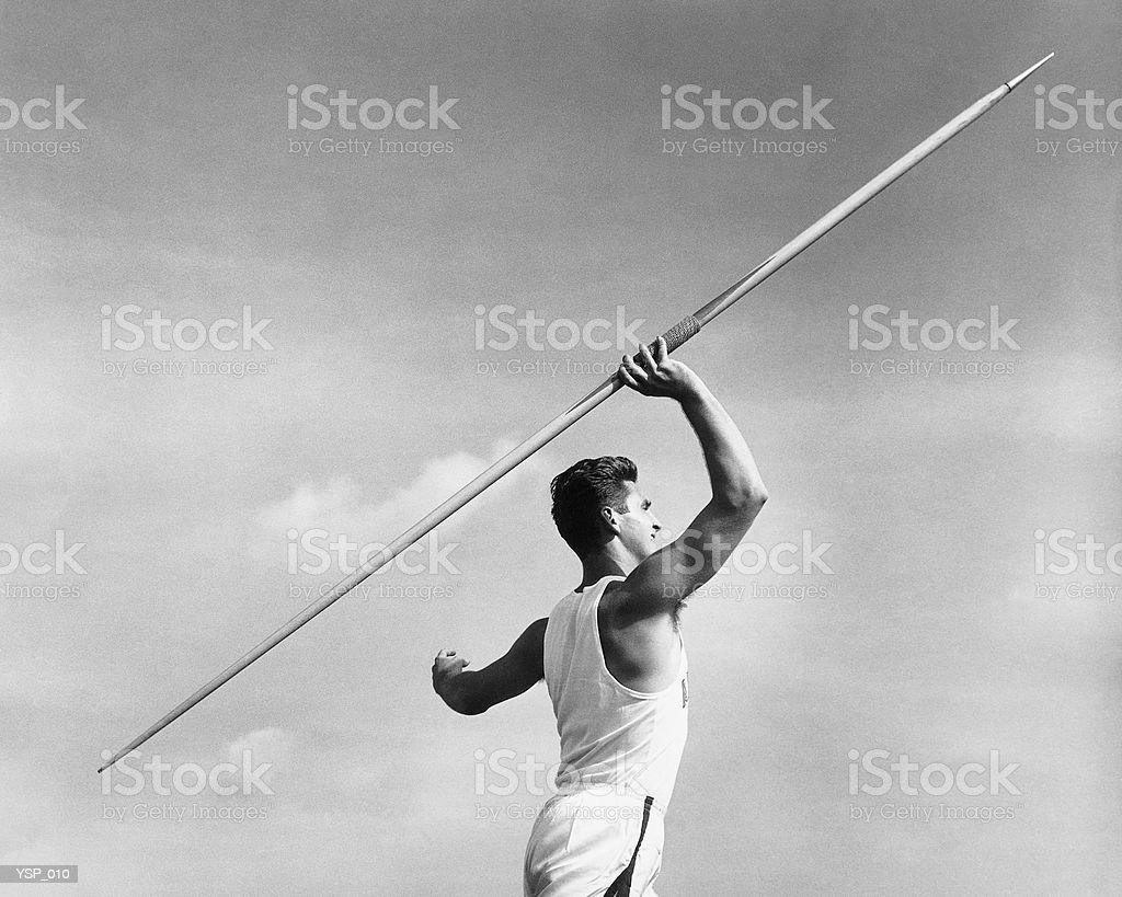 Man throwing javelin royalty-free stock photo
