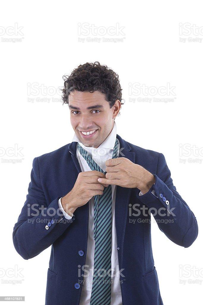 man tied tie stock photo