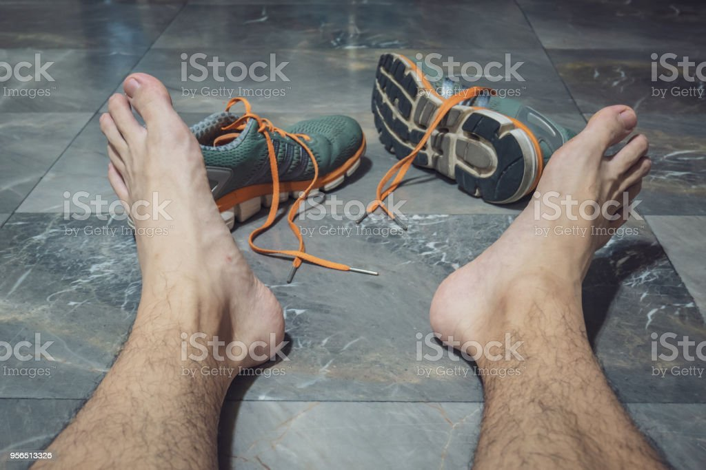 A man tired of running stock photo