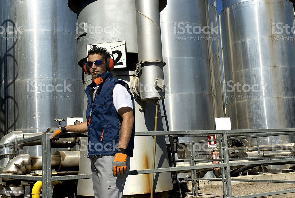 Man to work at a plant royalty-free stock photo