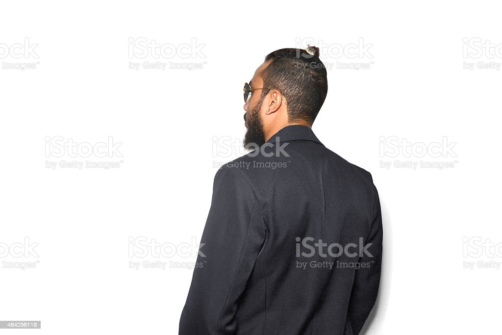 man top knot stock photo
