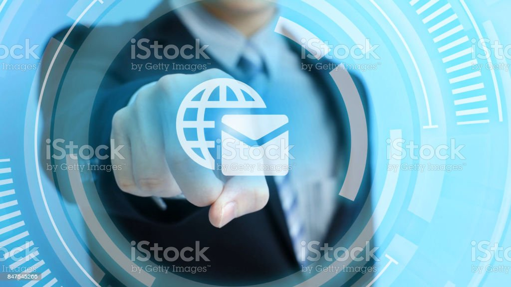 man touch email icon stock photo