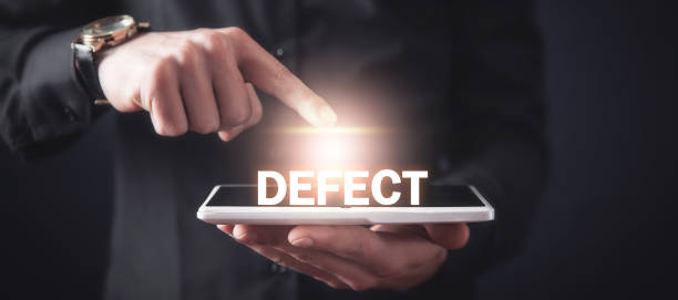 man touching defect word and using tablet computer. - incomplete stock pictures, royalty-free photos & images