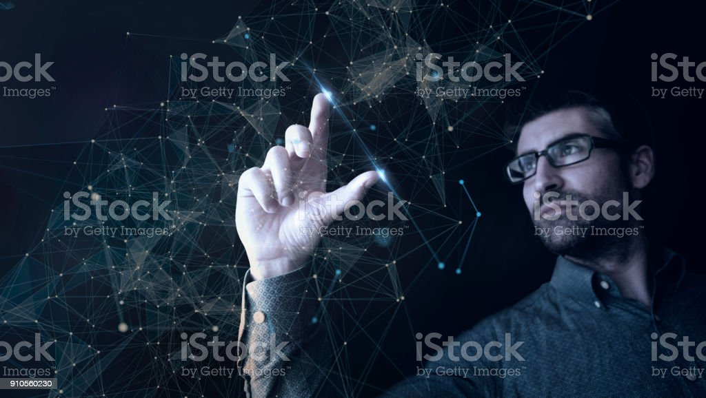 man touching digital network royalty-free stock photo