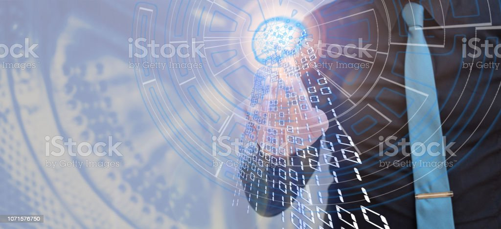 Man touching glowing poligonal brain with tip of the finger, virtual riality, artifical intelligence concept stock photo