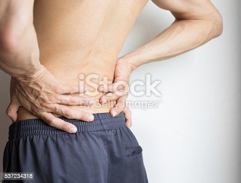 istock Man touching his back because of severe back pain 537234318