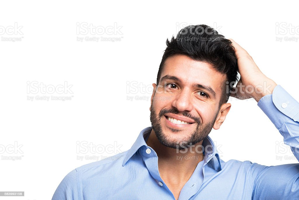Man touching his hair stock photo