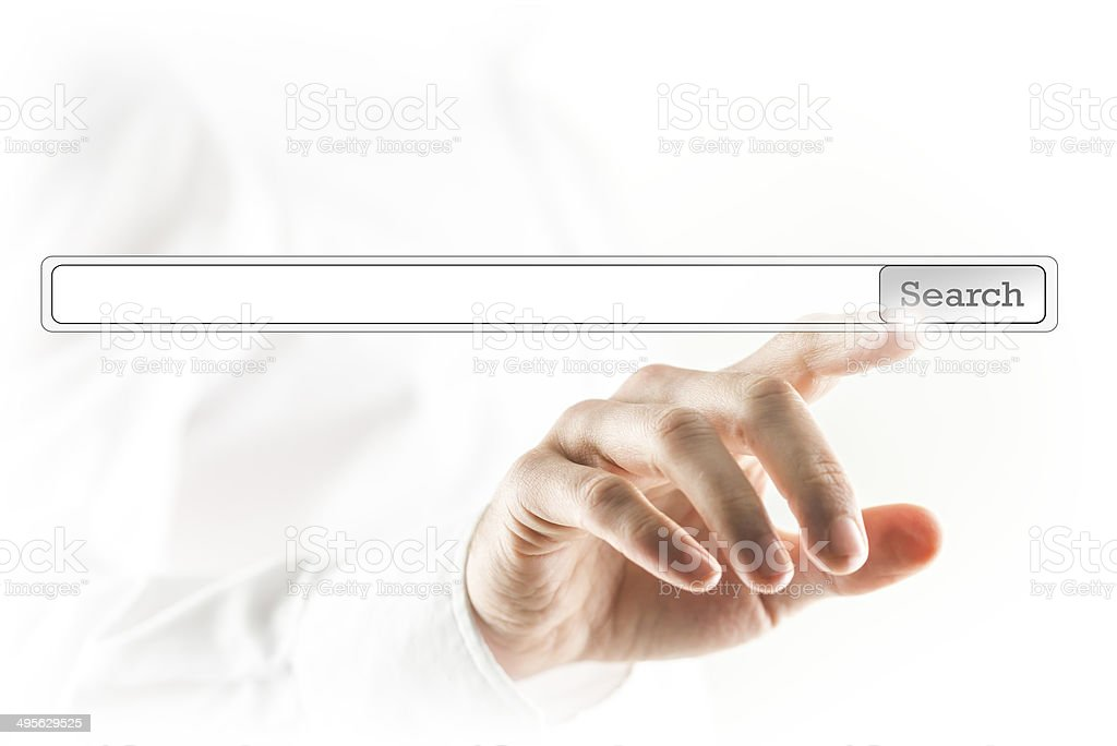 Man touching search bar on a virtual screen stock photo