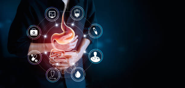 man touching stomach and icon medical, suffering painful of stomachache, gastrointestinal system disease during working cause of stress from work, health care and medicine concept - esophagus stock photos and pictures