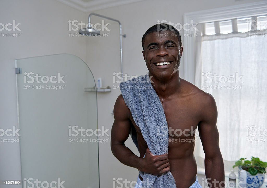 man towel bathroom portrait stock photo