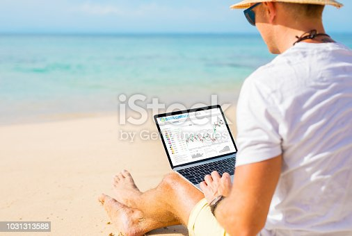 istock Man trading cryptocurrencies on the beach. 1031313588