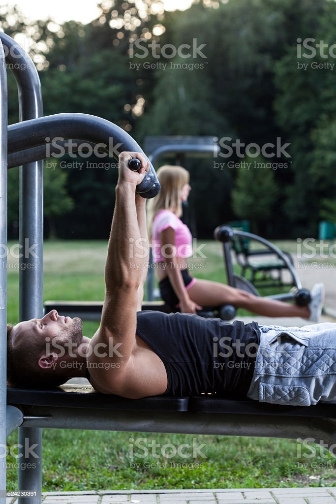 Man training chest muscles stock photo