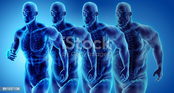 istock Man transformation from belly fat to sport fit and firm body, 3d illustration. 891537136