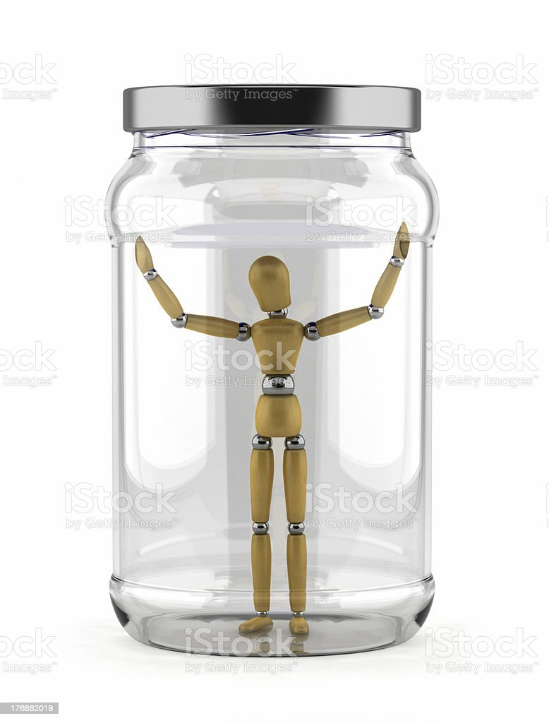 Man trapped in glass jar royalty-free stock photo