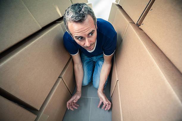 man trapped - claustrofobie stockfoto's en -beelden