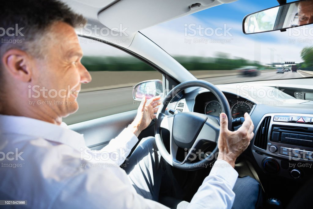 Man Traveling In Self Driving Car stock photo