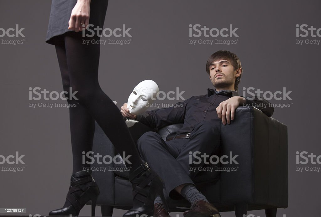 man treats woman with contempt royalty-free stock photo