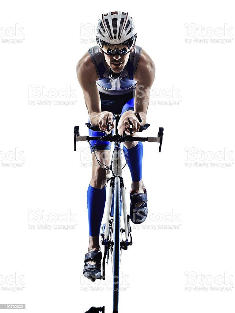 man triathlon ironman athlete cyclists bicycling stock photo