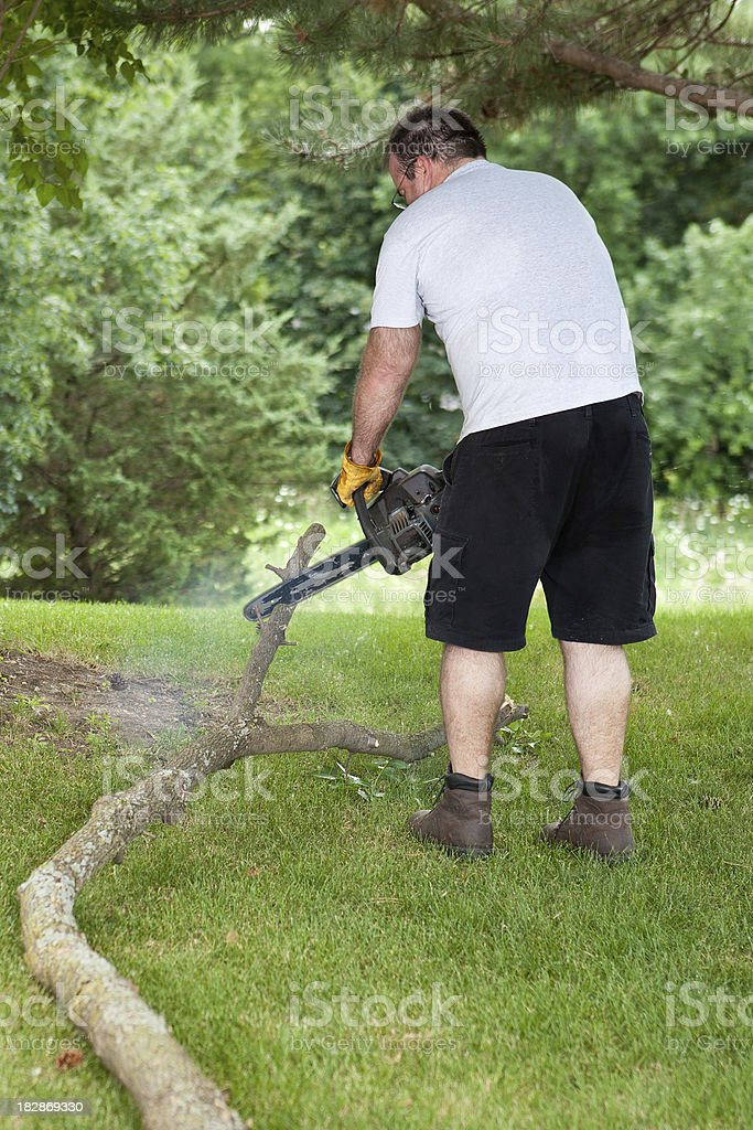 man trims fallen branch with chainsaw royalty-free stock photo