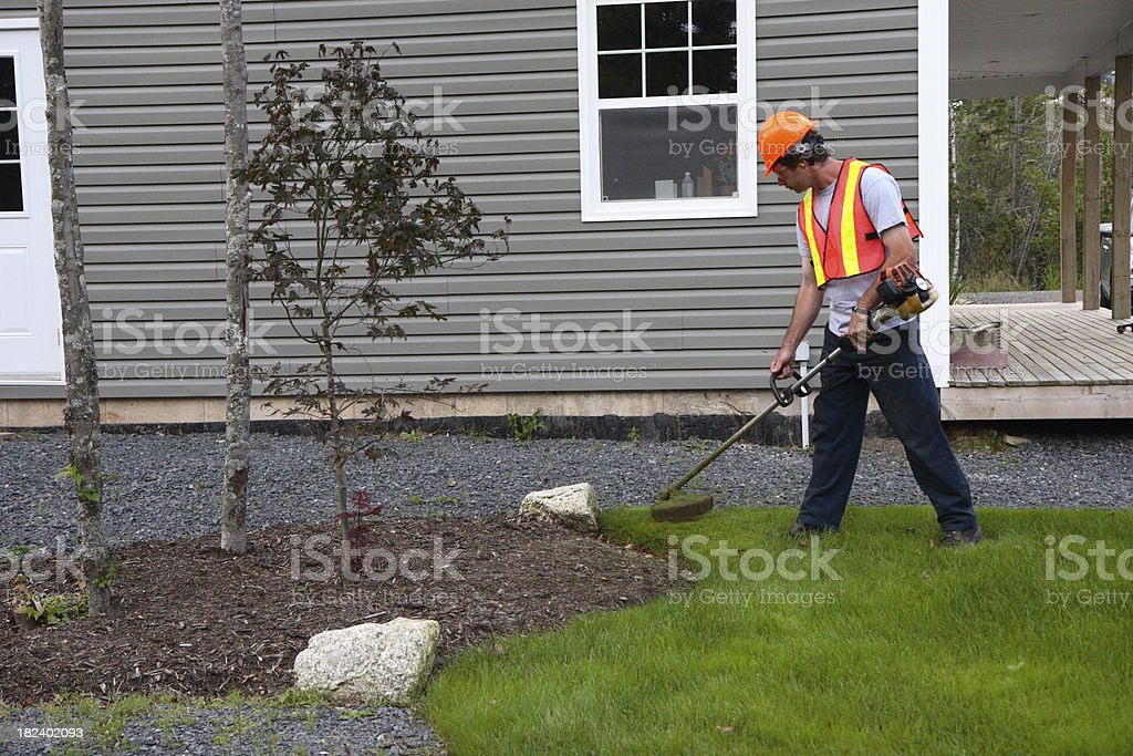 Man Trims Grass Wearing Safety Equipment stock photo