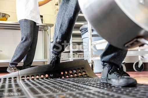 Trips, slips and falls in commercial kitchens are a major contributor to injuries sustained in the workplace.  A food service worker tripping on a curled up floor mat.