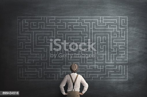 istock man try to solve a labyring on a chalkboard 899434516
