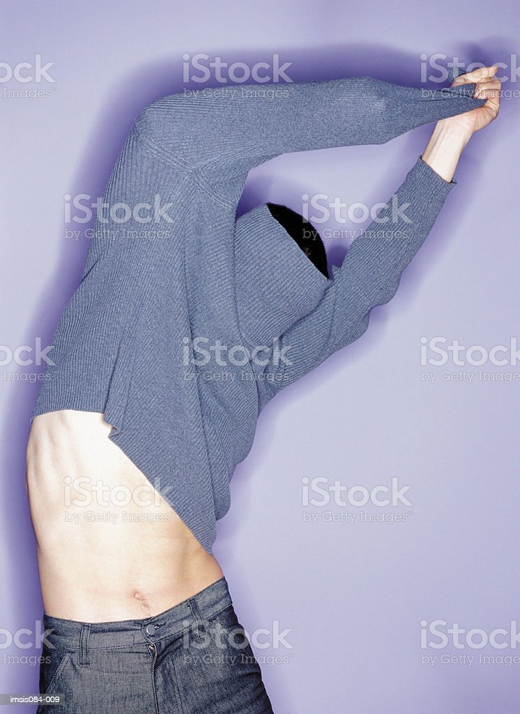 Man trying clothes royalty-free stock photo
