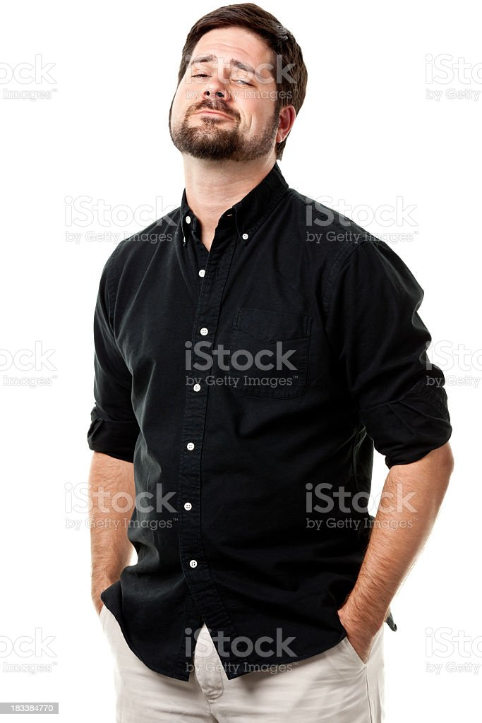 A man trying to act cool in a picture stock photo