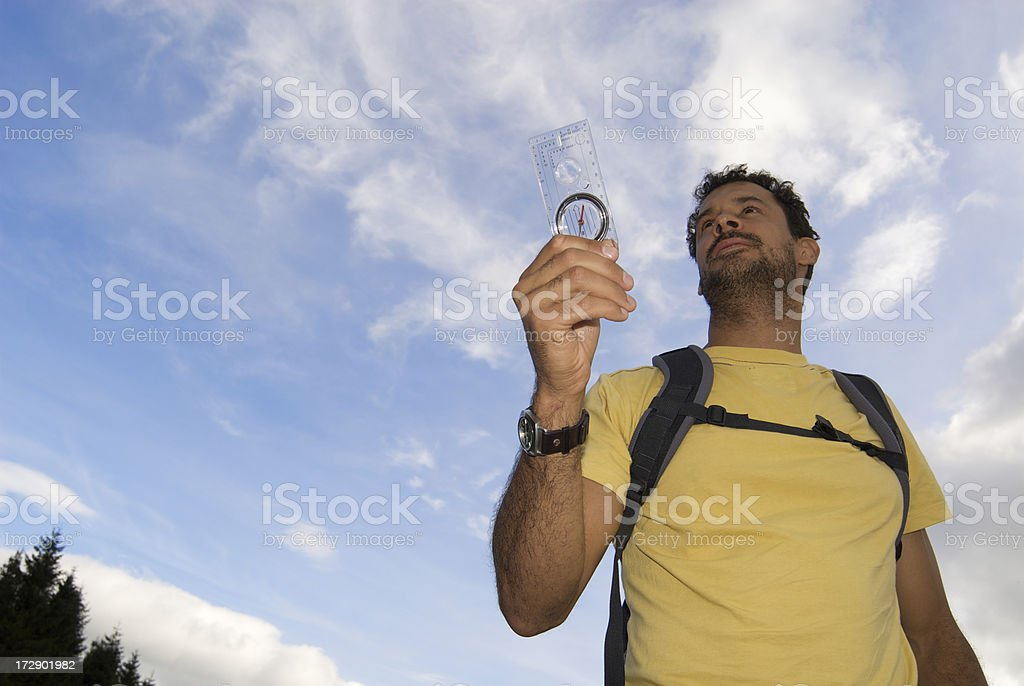 Man trying to find his way royalty-free stock photo