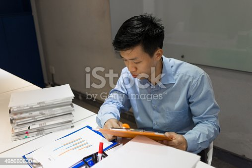 926239360 istock photo Man trying to finish his task before going home 495660600