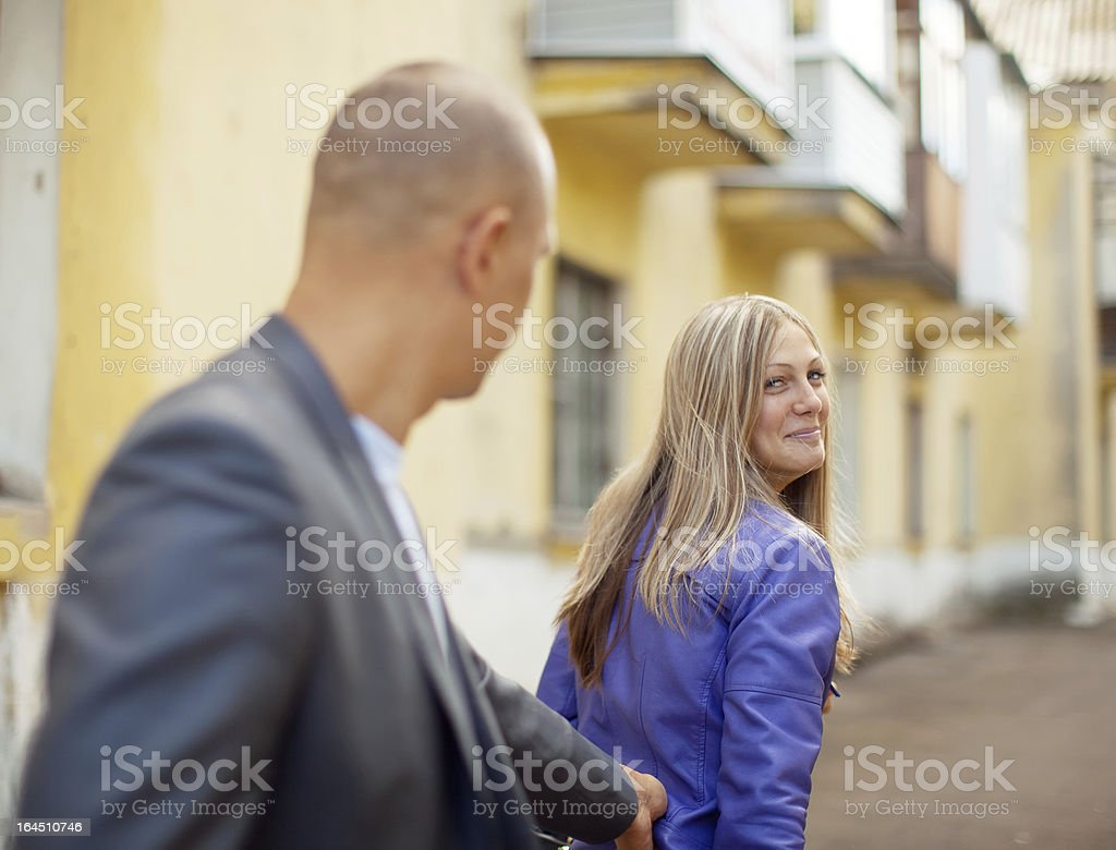 Man trying to get acquainted with woman royalty-free stock photo