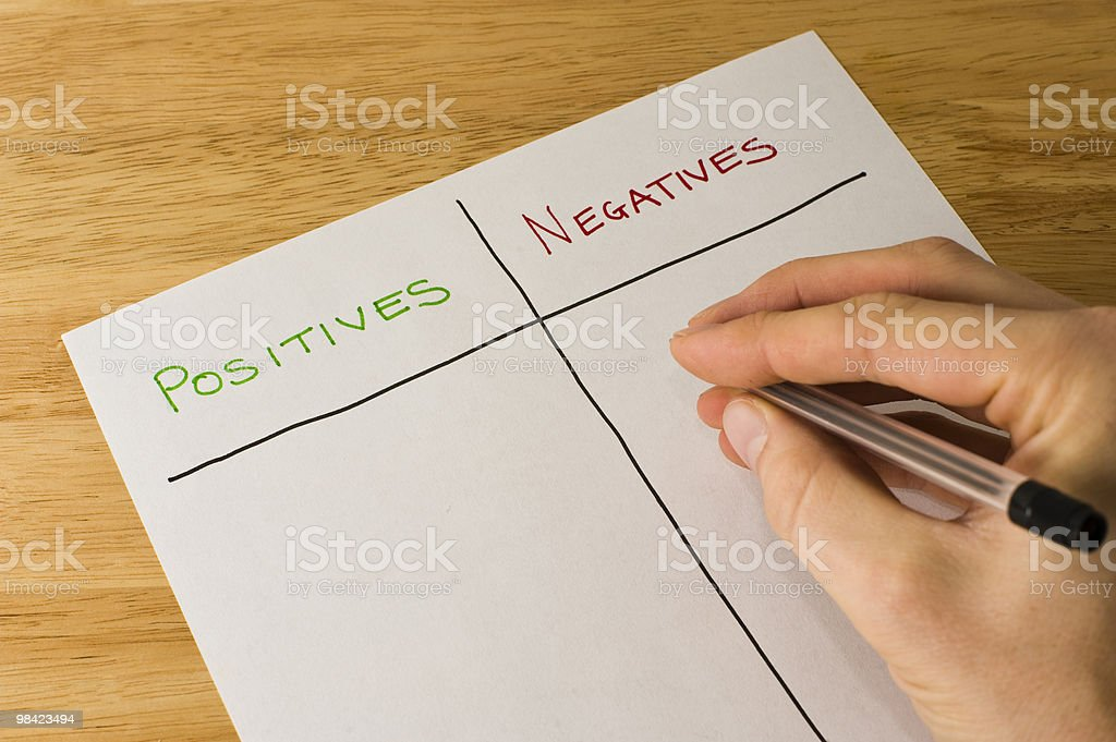Man trying to write down positives and negatives royalty-free stock photo